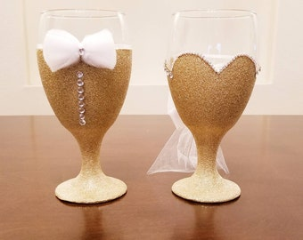 His & Hers Wine Glass Set Customizable Choose Your Color