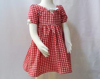 Girl dress vintage red gingham