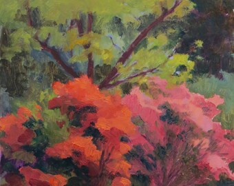 Azaleas Plein Air Oil Painting 12x9