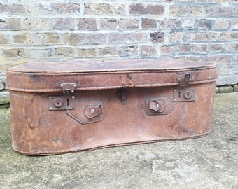 Authentic retro vintage french furniture, 1920, travel trunk suitcase, setting