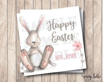Personalized Printable Easter Bunny Tags, Printable Happy Easter Tags, Watercolor Easter Tags, DIY Easter Tags, Watercolor Bunny