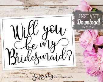 Bridesmaid Request Wedding Card - INSTANT DOWNLOAD -  Printable, Black & White, Wedding Stationery, Flat Cards