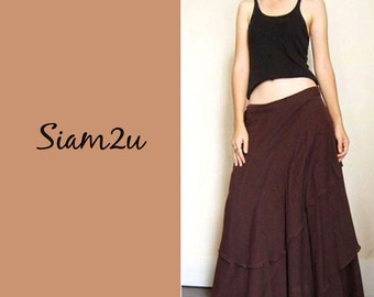 Custom Made Brown Cotton Two  layers Boho Hippie Gypsy Circle Long Wrap Skirt  S-L  (H)