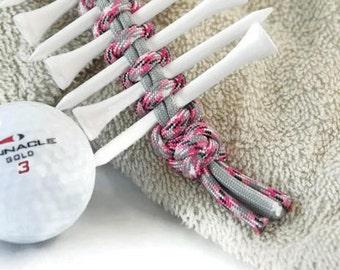 Pink Tee Holder, Golf Tee Holder, Golf Accessory, Golf Tee, Gift for Golfer, Golfing Gift, Golf Tee Organizer, Tee Caddy, Golf Keychain