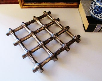 Italian Silver Bamboo Trivet, Expanding Trivet, Hot Plate, Plant Stand, Hollywood Regency, Chinoiserie Decor, FB Rogers Hot Plate