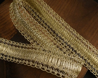 "1-1/8"" Metallic Gold Braid Trim by 2-yards, MAY-AL313"