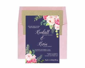 Rose Navy Floral Watercolor Invitation Suite, Romantic Wedding Invitation, Gold Navy Rose Pastel