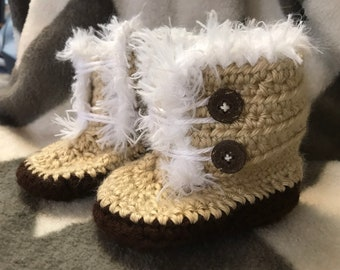 Crochet Fuzzy Baby Booties (Size 18-24 months)