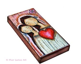 Un Solo Corazón- Mother Daughter Love -  Giclee print mounted on Wood (5 x 10 inches) Folk Art  by FLOR LARIOS