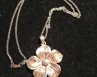 925 sterling silver flower necklace