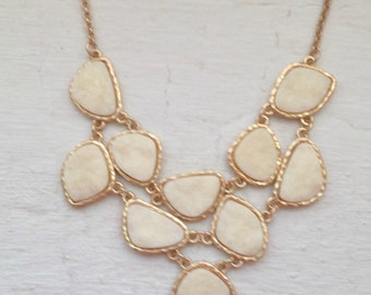 White Necklace, White Druzy Necklace, Ivory Necklace, Drusy Necklace, gold necklace, jcrew, jcrew necklace, jewelry, necklace