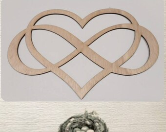 Infinity Symbol and Heart Entwined - Laser Cut Wood