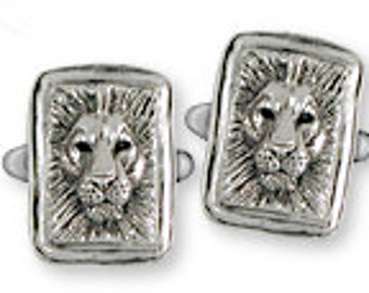 Solid Sterling Silver Lion Cuff Links - LION1CL