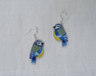 Blue tit earrings