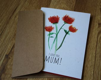 i love you, mum! - blank greeting card