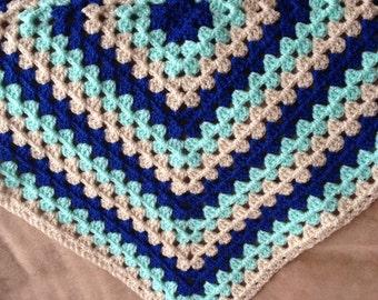 Handmade Granny Square Crochet  Baby Blanket/Throw/Lap - New - Dark Blue - Green - Beige