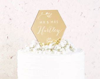 Geometric Botanical Wedding Cake Topper