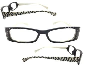 Women's 2.25 Strength Rhinestone Reading Glasses with Hand Painted Zebra Stripes