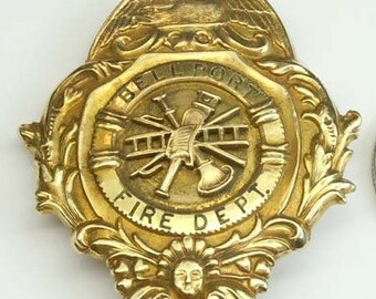 1909 Bellport Fire Dept 14kt Gold Dedication Badge to Major W. H. Langley Pin Brooch