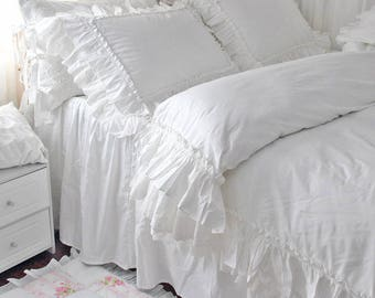 ruffle ac dp shabby lace and duvet set elegant white bedding king cover