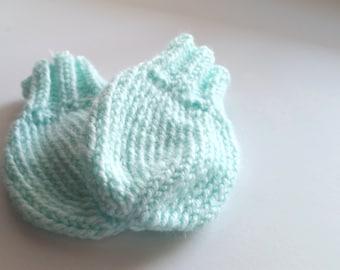 Mint Blue Newborn No-Scratch Knit Baby Mittens 0-6 months Baby shower gift Gender Neutral necessities accessories ribbed cuff Washable