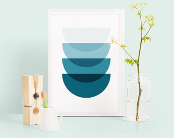 Semicircle geometric print, teal abstract print, ombre navy home decor, blue ombre abstract wall art, geometric poster, housewarming gift