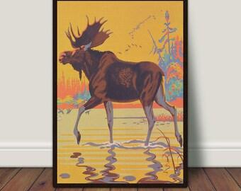 Moose Print, Wildlife Print, Walking Through a Creek, Nature, Animal Wall Art, Animal PRINTABLE, Vintage Poster, Large Print, Large Wall Art