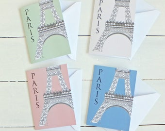 Paris Card, Eiffel Tower Blank Cards with envelopes, Paris Note Card, Greetings Card