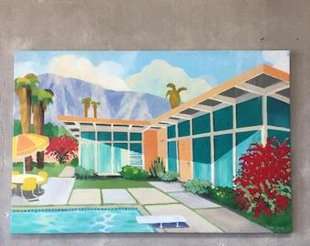 Modern Palm Springs Painting by Artist Donald Lloyd Smith (BNXNJV)