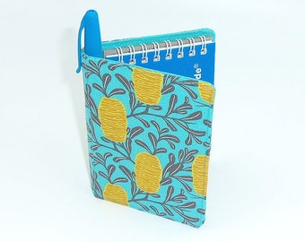 """Pocket Sized Notebook with fabric cover. Small gift in """"Banksia"""" Australiana Floral by Joella Hill Australian Seller"""