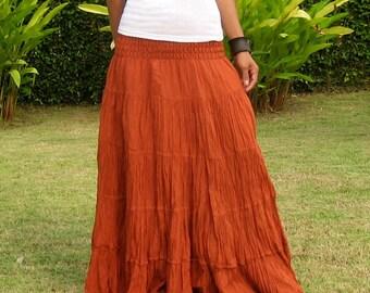 Long Maxi Skirt * Elastic Smocked Waist * Long Skirts For Women * Hippie Skirt * Bohemian Skirt * Boho Skirt * Tiered Skirt * SL-terra