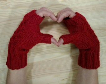 Mittens, mittens without fingers, mittens for smartphones, for driving, knitted mittens