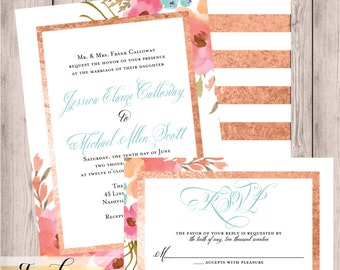 Wedding Suite, Floral Wedding, Rosegold, Rose Gold Wedding, Invitation, Printable, Watercolor, Wedding Suite, Invitation with RSVP