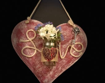 Rustic LOVE Wood Candle/Flower Holder Heart Shaped Wall Hanging