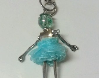 Scissors Fob Small Lady in Puffy Blue Dress New