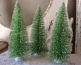 "Large Bottle brush tree 8"" Glittered large green Christmas trees village crafts supplies vintage style table decor Cottage Chic decor"