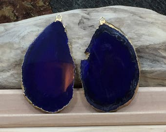 Purple Agate Slice, Purple Agate Slice Pair, Purple Geode Slice Pair, Purple Geode Slice, Purple Agate Slice, Dyed, Gold Plated, PG3810AC