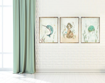 Ocean wall art for girls, Mermaid, Seahorse - nursery decor sea - Nursery Decor - Childrens Art - Kids Wall Art - Nursery Art