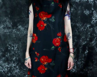 Vintage 1940s Designer Black and Red Floral (Roses) Shift // Midi Dress, Size Medium to Large -- Rockabilly // Swing // Pinup Girl // Gothic