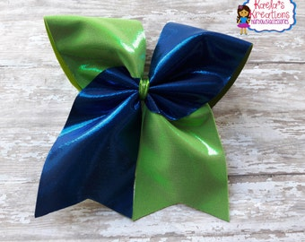 Lime Green and Blue Cheer Bows,Blue and Green Cheer Bows,Blue and Lime Green Cheer Hair Bows,Cheer Bows,Cheer Hair Bows,Green and Blue Cheer
