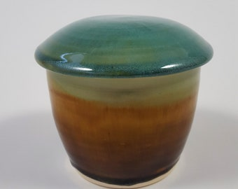 French Butter Crock in Amber and Turquoise Green
