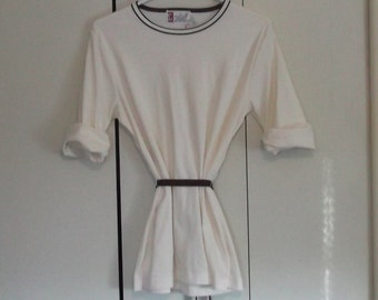 vintage 1960s 1970 Japanese blouse white brown belt