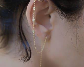 Silver Earcuff   Earcuff   Gold EarCuff   Threader EarCuff   Earcuff with Chain  Dainty Threader Earring   Single Ear Cuff   Christmas Gift