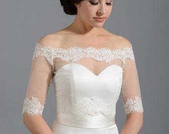 Off-Shoulder bolero, wedding jacket, bridal jacket, wedding bolero, lace bolero, bridal bolero jacket, illusion tulle bolero, alencon lace