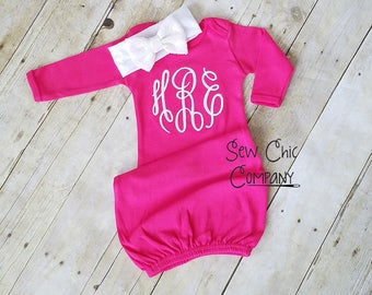 Baby Girl Coming Home Outfit, Newborn Girl, Baby Girl Gown, Monogram Baby Gown, Newborn Girl Going Home Outfit, Infant Gown, Newborn Outfit