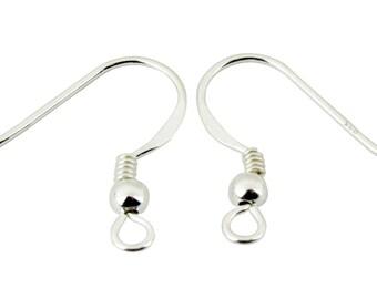 ES-0117 925 Solid Sterling Silver - Earrings Hook 20 mm