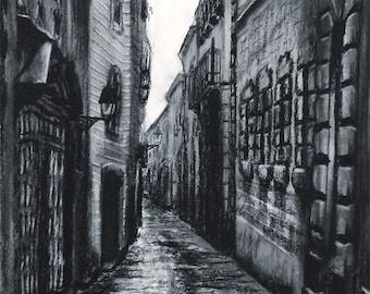 Barcelona Gothic Quarter Charcoal Drawing Print
