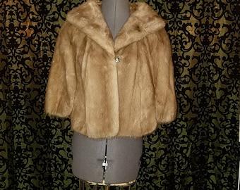 Vintage 1940's Golden Brown Mink Fur Stole Wrap, In MINT Condition