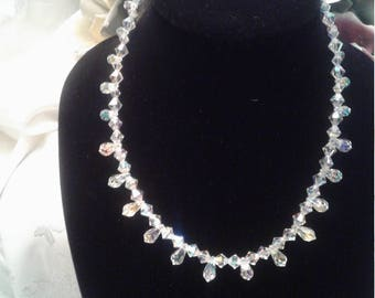 Fire and Ice crystal swarovski beaded necklace/Bridal/Wedding
