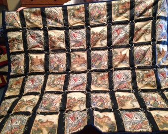 Hand tied cottage themed quilt